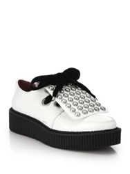Marc By Marc Jacobs Berry Bow Embellished Leather Oxfords White
