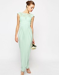 Asos Wedding Lace Top Pleated Maxi Dress Mint Green