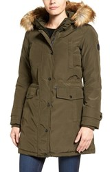 Michael Michael Kors Women's Faux Fur Trim Down And Feather Fill Parka Olive
