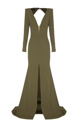 Alex Perry Francoise Open V Satin Crepe Long Sleeve Fishtail Gown Khaki