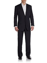 Saks Fifth Avenue Black Classic Fit Striped Wool And Silk Suit Black