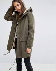 Parka London Elisa Classic Jacket In Canvas With Borg Lining Khaki Green