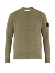 Stone Island Crew Neck Ribbed Knit Wool Blend Sweater Light Green