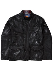 Boss Logo Boss Orange Jerian Sheepskin Leather Jacket Black