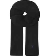 Ralph Lauren Ribbed Merino Wool Scarf Polo Black