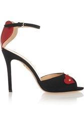 Charlotte Olympia Sole Mates Leather And Suede Sandals Black