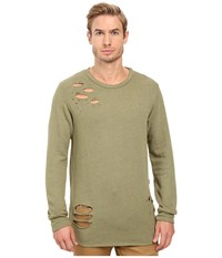 Rustic Dime Distressed Long Sleeve Tee Olive Men's T Shirt