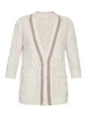 Brunello Cucinelli Wool Jersey Cable Knit Cardigan Cream