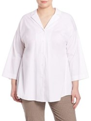 Lafayette 148 New York Plus Size Analeigh Button Front Blouse White