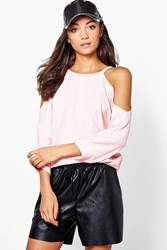 Boohoo Skyelar Raw Edge Textured Cold Shoulder Sweat Blush