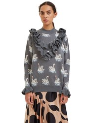 Stella Mccartney Swan Intarsia Knit Ruffled Sweater Grey