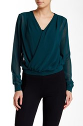 Lez A Lez Solid Wrap Blouse Green