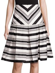 Alexis Emerson Box Pleated Fit And Flare Skirt Black White