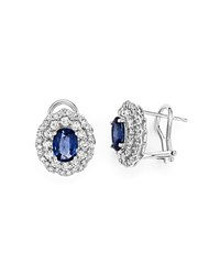 Bloomingdale's Diamond Halo And Sapphire Earrings In 14K White Gold Blue White