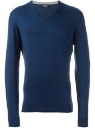 Hackett V Neck Sweater Blue