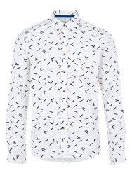 Hymn Perry All Over Pencil Print Long Sleeve Shirt White