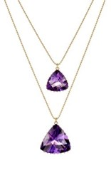 Renee Lewis Women's Double Pendant Necklace Purple