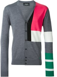 Dsquared2 Colour Block Cardigan Grey