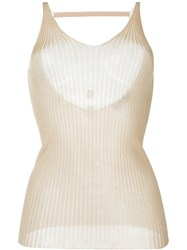 Msgm Rib Knit Tank Top Nude And Neutrals