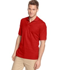 Club Room Short Sleeve Solid Estate Performance Sun Protection Polo Cherry Wood