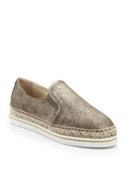 Jimmy Choo Dawn Metallic Suede Espadrille Sneakers Gold
