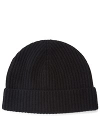 Johnstons Of Elgin Cashmere Knitted Ribbed Beanie Hat