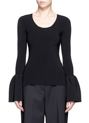 Elizabeth And James 'Willow' Bell Sleeve Rib Knit Top Black