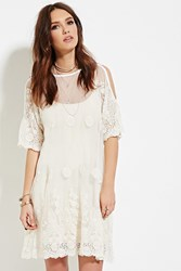 Forever 21 Raga Embroidered Mesh Tunic White