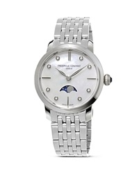 Frederique Constant Slimline Moonphase Stainless Steel Watch 30Mm Silver