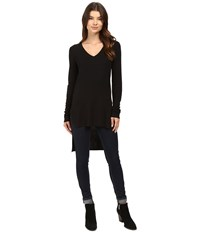 Heather Long Sleeve V Neck High Low Tunic Black Women's Clothing