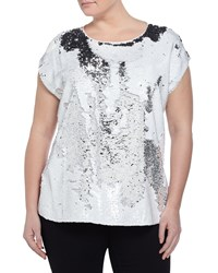 Vince Camuto Plus Short Sleeve Sequin Front Top Ultra White