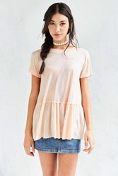 Truly Madly Deeply Dusty Road Peplum Tee Peach