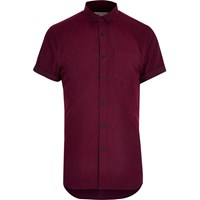 River Island Mens Red Oxford Flannel Short Sleeve Shirt
