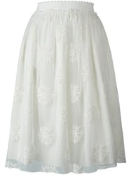 Blugirl Embroidered Tulle Skirt White