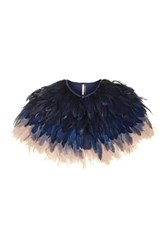 Topshop Feather Cape Navy Blue