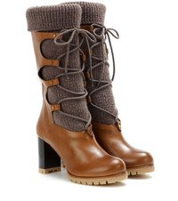 Chloe Leather And Wool Boots Brown