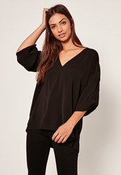 Missguided Oversized Short Sleeve Blouse Black