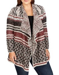 Lucky Brand Plus Printed Open Front Cardigan Beige Multi