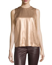 Brunello Cucinelli Laminated Silk Sleeveless Blouse Gold