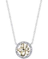 Unwritten Initial 'Y' Pendant Necklace With Crystal Pave Circle In Sterling Silver And Gold Flash Two Tone