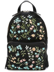 Red Valentino Floral Beaded Backpack Black