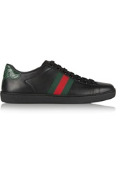 Gucci New Ace Crocodile Trimmed Leather Sneakers