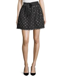 Red Valentino Grommet Embellished Scalloped Hem Mini Skirt Women's