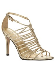 Phase Eight Gigi Leather Sandals Gold Metallic