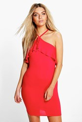 Boohoo Double Layer Bodycon Dress Red