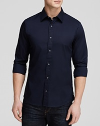 Michael Kors Stretch Cotton Button Down Shirt Slim Fit Midnight