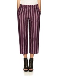 Burberry Panama Stripe Cotton And Silk Cropped Trousers Crimson