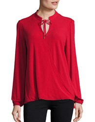 Michael Michael Kors Tie Accented Long Sleeve Mock Wrap Top Red Blaze