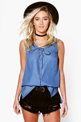 Boohoo Denim Lace Up Front Sleeveless Swing Top Blue