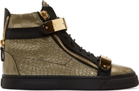 Giuseppe Zanotti Old Gold Croc Embossed Leather London High Tops